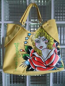 Ed Hardy 1971 Canvas.Vinyl Tote Bag  Veronica Yellow by Christian Audigier