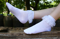 Lady Women Girl Retro White Fancy Ankle Ruffle Frilly Short Lace Cotton Socks