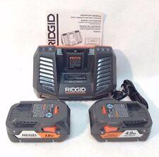 Ridgid R840095 GEN5X 18V NiCd Li-Ion Battery Charger 110V & 2 x 4.0Ah R840087