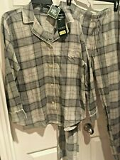 NWT Ralph Lauren Grey Silver Plaid Brushed Cotton Flannel Pajama Set XL Pants