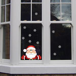 Santa in Window Snow Flakes Kids Bedroom Girls Wall Decal Sticker Gift Christmas