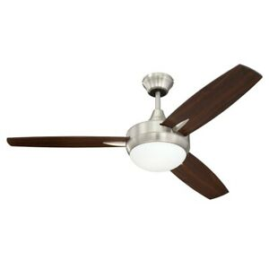 "Craftmade Targas 48"" Ceiling Fan, Nickel, Walnut/Dark Oak Blades - TG48BNK3"