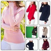 Women's Solid  Turtleneck Buttons Pullover Knit StretcHT Sweater(S-XL)