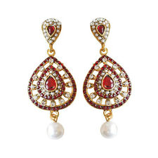 Pearl Chand Bali Earring Pse14 Drop Shape Red &White Coloured Stone,Shell