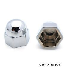 "12 Chrome 7/16"" Metal Acorn Nut Caps & Bolt Covers - Custom Car Truck Motorcycle"