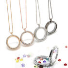 Gold Living Memory Floating Charm Crystal Glass Round Locket Pendant Necklace