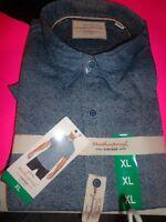 Weatherproof Vintage Mens Short Sleeve Shirt Blue Shadow XL- NEW
