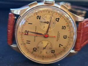 Baume & Mercier 18k SOLID GOLD JUMBO CASE MEN'S CHRONOGRAPH WATCH FROM 50's