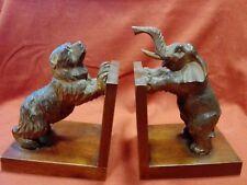 Coppia di fermalibri in legno Orso/Elefante Antikidea