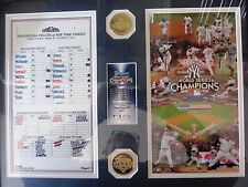 2009 Phillies/Yankees W.S line up card, 2 Gold clad coins, Mintage # 59 of 2,009