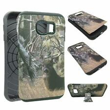 For Samsung Galaxy Edge S6 Kickstand Hybrid CamoTail Deer Pin Hard Soft Cover