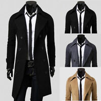 Stylish Mens Winter Trench Coat Double Breasted Long Jacket Overcoat Outwear USA