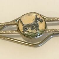 VINTAGE MIDCENTURY TIE CLIP WITH SCOTTY DOG UNDER LUCITE BUBBLE PAINTED JEWELRY