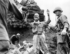 B&W WWII WW2  Photo Surrendering Japanese Soldier Iwo Jima  World War Two / 2215