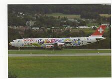 Swiss A340-313X at Zurich Aviation Postcard, A637
