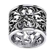 Sterling Silver Filigree Wide Floral Design Cigar Band Ring NEW Size 7