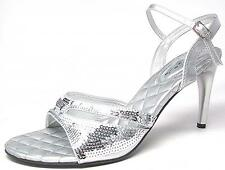 Party Bridal Wedding Shoes High Heels Sandals Sequined Silver Gold Size 6-11 NWB