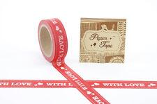 Rojo Con Amor De Papel Cinta Adhesiva Decorativa corazón sellotape Regalo de San Valentín 10m