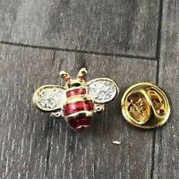 AUTHENTIC VINTAGE BUMBLEBEE BEE GOLD TONE PASTE SET RED ENAMEL PIN BADGE BROOCH