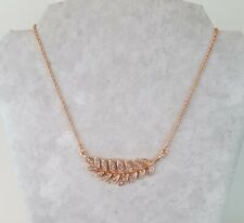 Women Fashion Jewelry Rose Gold Tone Leaf Necklace with Earrings Chain