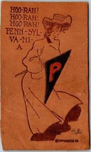 1900s UNIVERSITY OF PENNSYLVANIA Leather Postcard College Girl / Pennant Cancel