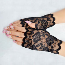 Lace Fingerless Gloves Madonna Ladies Lady 1980's Fancy Dress