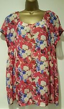 NEW Threads Plus Size 16-26 Pink White Blue Floral Print Chiffon Top Blouse