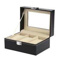 3 Slots Leather Watch Display Box Wristwatch Storage Holder Organizer Case Q4G2