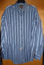 TAILORBYRD - BLUE/GRAY STRIPE LONG-SLEEVE DRESS SHIRT - MENS XXL