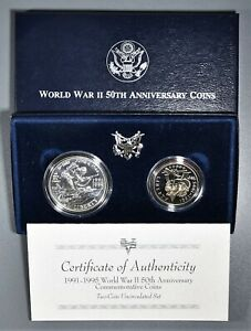 1991-1995 WWII 50th ANNIVERSARY COMMEMORATIVE 2-COIN SET IN OMP,  SKU-2374