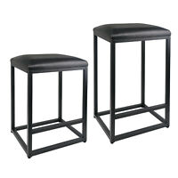 Leopard Bar Stool with Leather Cushion and Metal Base,1 Chair - Black
