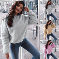 Fall Fashion Women Casual Tops Blend Fuzzy Blouse Pullover Jumper Loose Sweater