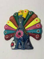 Mexican Folk Art -Glazed Rainbow Peacock #2- Mexican Folk Art Wall hand Painted