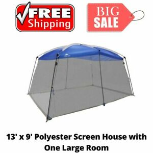 LARGE ROOF MESH SCREEN HOUSE Outdoor Garden Patio Camping Travel Tent Blue 13X9