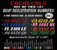 "Custom Boat Registration Numbers ( PAIR / Set of Two ) Vinyl Decals 3"" X 20"""