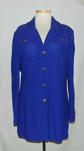 St John Royal Blue Textured Knit w/Gold Buckle Accents Button Blazer Jacket 16