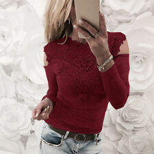 Womens Fashion Lace T Shirt Long Sleeve Patchwork Slim Blouse Ladies Casual Tops