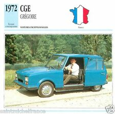 CGE GREGOIRE 1972  CAR VOITURE FRANCE CARTE CARD FICHE
