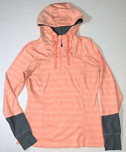 MPG Sport Orange Hooded Hoodie 1/4 Zip Athletic Pullover Ruffle Jacket Women's M