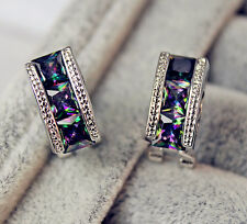 18K White Gold Filled - MYSTICAL Rainbow Topaz Square Elegant Cocktail Earrings