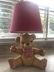 VINTAGE TEDDY BEAR CHILDRENS NURSERY TABLE LAMP LIGHT CERAMIC