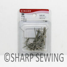 """SINGER T PINS NICKEL PLATED STEEL (SIZE 28, 1- 3/4"""") 24 COUNT S00291"""