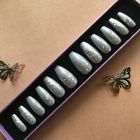 Hand Painted False Nails XL COFFIN (or ANY) Grey Gray Glitter - Ombre Sparkle