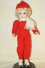 "GORGEOUS! Vintage 14"" Blonde Mary Hoyer Hard Plastic Strung Doll Roller Skates"