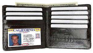 Eel Skin Leather Men's European Bifold Hipster Wallet 8 Cards ID window Holder
