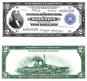 Reproduction of two 1918 notes: Battleship $2 & Flying Eagle $1 Fed Res Bank Not