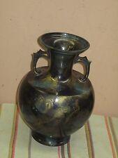 "Vintage Enamel on Heavy Brass Enameled Cloisonne Art Deco Urn Vase 10.5"" Tall"