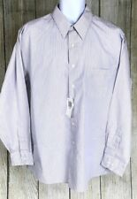 Van Heusen Men's 17 34/35 Classic Fit White Gray Striped Button Down NWT A5505