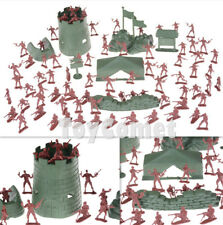 67 pcs Military Base Playset Toy Soldiers Army Men Red 4cm Figures & Accessories