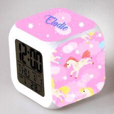 Reveil cube led lumière nuit alarm clock licorne personnalisé prénom  réf 03